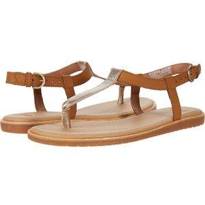 NEW Sorel Bailee T-Strap Sandal in Brown/Gold